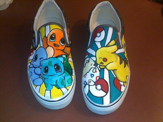 Pokemon Hand painted shoes by lacy1337 on Etsy, $60.00
