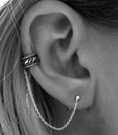 simple ear cuff with a leaf pattern