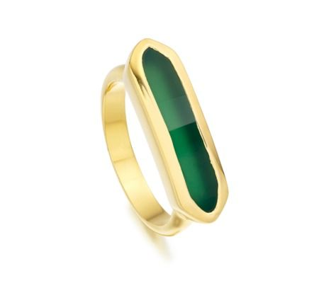 Baja Ring in 18ct Gold Plated Vermeil on Sterling Silver with Green Onyx
