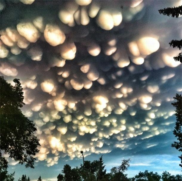 Mammatus clouds over a Prairie in Canada.
