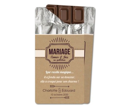 faire part mariage tablette chocolat rounded