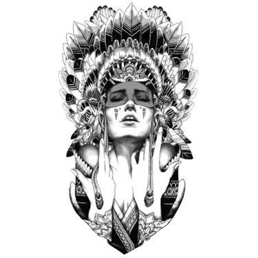 Indian Girl Tattoo Design In Sketch Style Tattoo Design