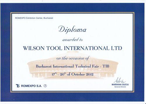 Diploma Wilson Tool for Bucharest International Technical Fair Exhibition -  TIB 2012 Partener : SM TECH S.R.L. - http://www.sm-tech.ro