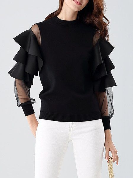 Shop Sweaters - Statement Knitted Frill Sleeve Crew Neck Plain Sweater online. Discover unique designers fashion at StyleWe.com. $110.00 and I'd say worth every penny.