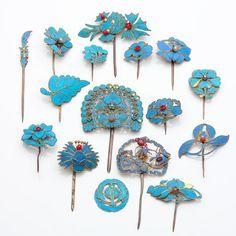Chinese Kingfisher feather hair ornaments!