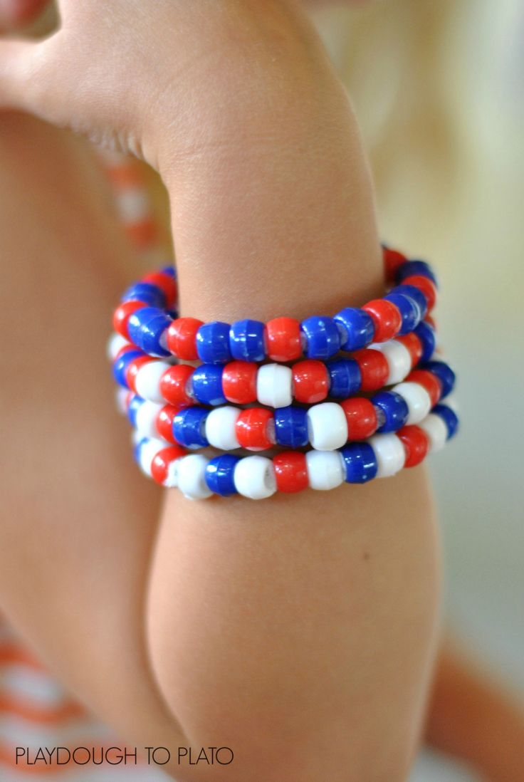Fourth of July bracelets offer a fun and inviting way to practice patterning skills while providing extra fine motor skills work.