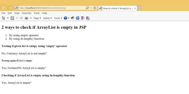 How to check if ArrayList is Empty using JSTL Example