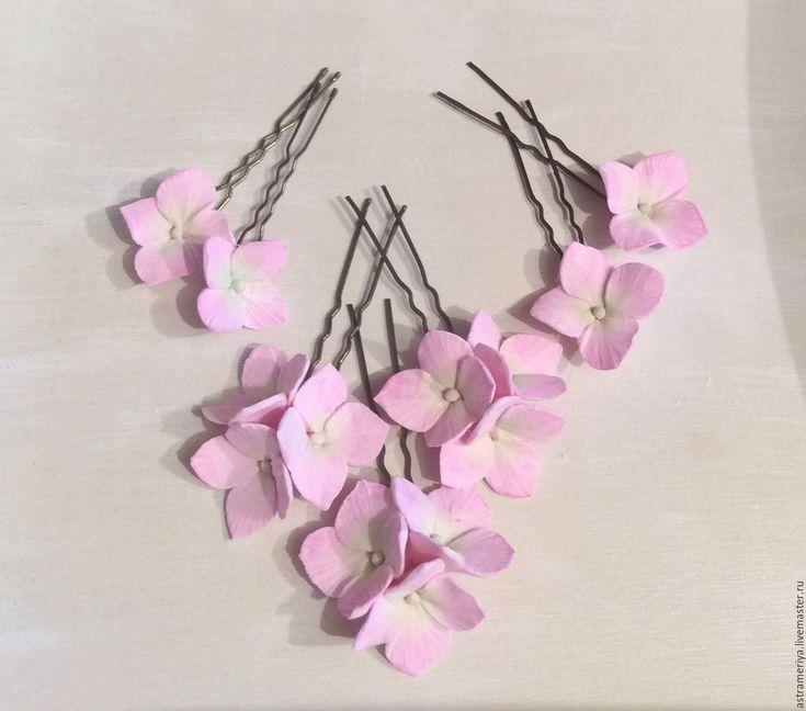 Купить Свадебные шпильки розовая гортензия полимерная глина - бледно-розовый, розовый, гортензия, гортензии