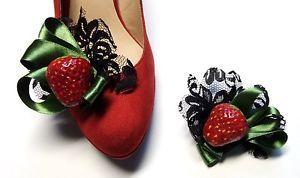 Schuhschmuck-Pumps-Schmuck-Schuhclips-Erdbeere-Spitze-Rot-Ballerina-Sandalen-50e