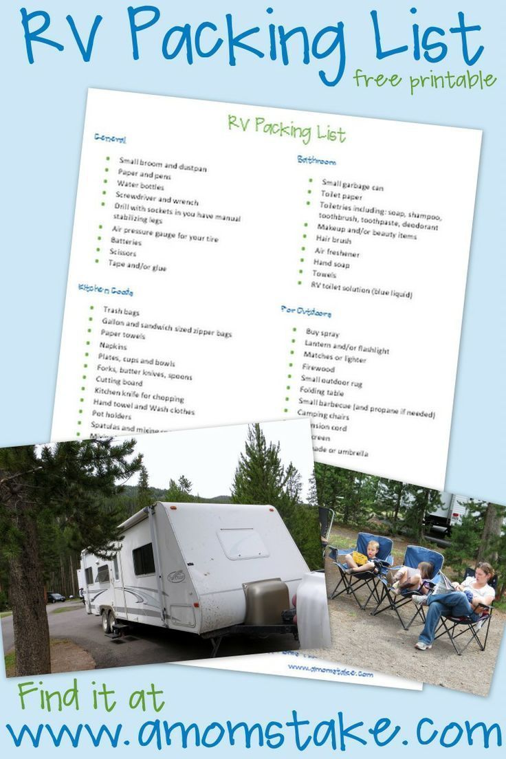 Find out a list of what to pack for your rv trip in this free printable