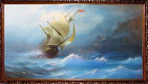 Корабль в бушующем море - Морской пейзаж <- Картины маслом <- Картины - Каталог | Универсальный интернет-магазин подарков и сувениров