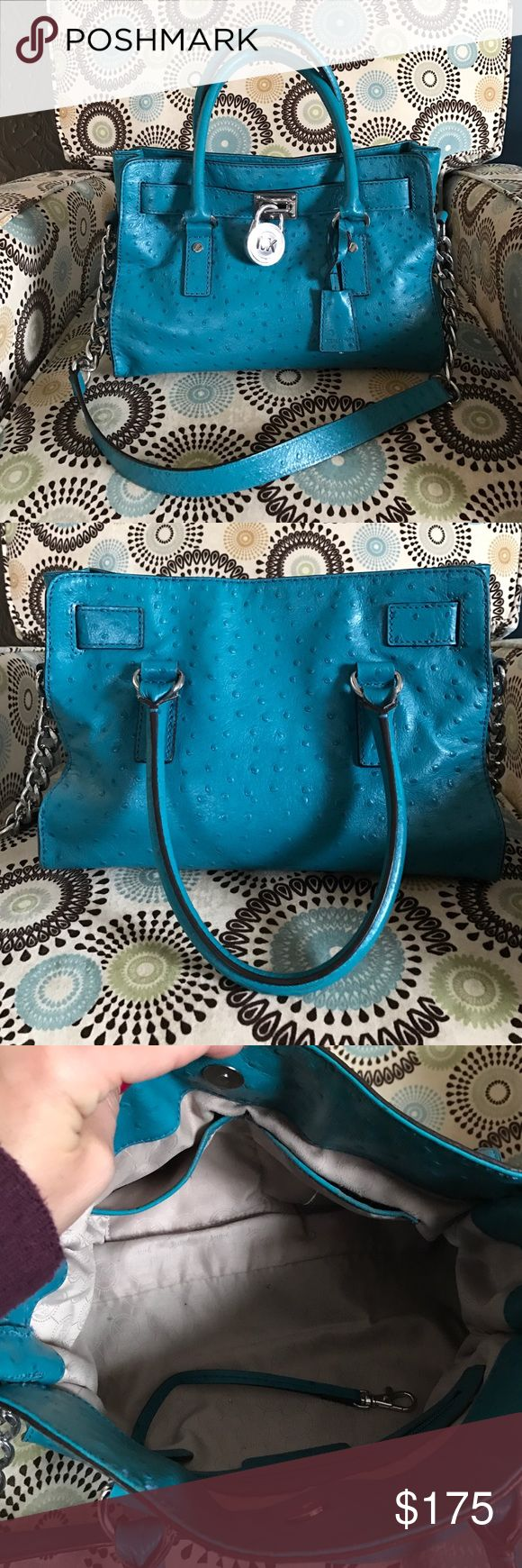 MICHAEL KORS HANDBAG Michael Kors ~ Turquoise ~ Crocodile Handbag!!  So cute and in excellent condition!  Open to Trade for another MK Bag 😊 Michael Kors Bags Satchels