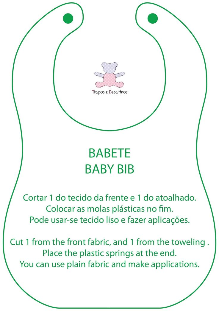 Moldes Grátis | Free Sewing Patterns: Babete simples com tutorial | Baby Bib…