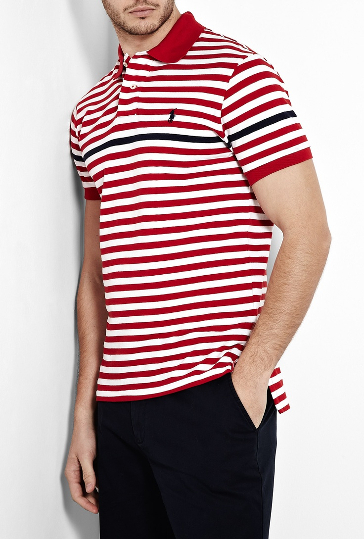 White Red Navy Stripe Polo Shirt by Polo Ralph Lauren