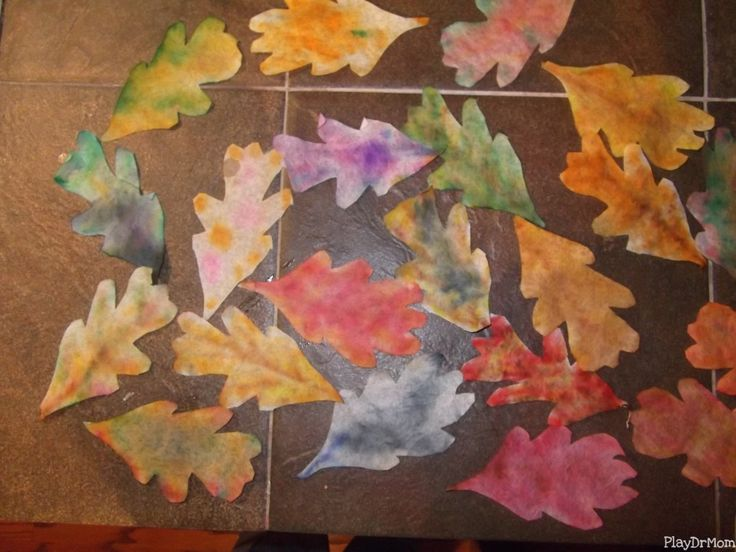 Leaves of Change: Coffee Filter Leaves made with watercolor pens.  Activity for fall.