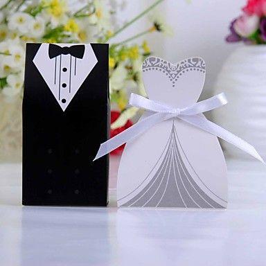smoking en jurk voor doos met wit lint (set van 12) - bedankjes voor de gasten #ligtinthebox.com