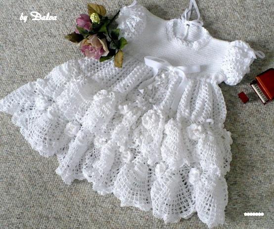 Adorable Christening Baby Dress free crochet pattern.