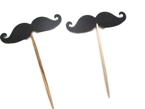 Set of 24 Black Mustache Food Picks - Boy showers, lil man shower, Tie or Tutu, Bows or Bowties, Gender reveal shower on Etsy, $4.50