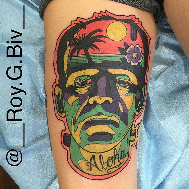 Hawaiian Frankenstein tattoo by @__roy.g.biv__ at @unkindnessart in Richmond, VA #roygbiv #gearymorrill  #unkindnessart #teamunkindness #richmond #virginia #frankenstein #frankensteintattoo #aloha #alohatattoo #hawaii #hawaiitattoo #hawaiian #hawaiiantattoo #tattoo #tattoos #tattoosnob