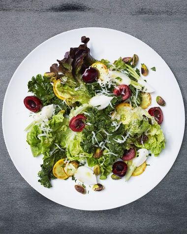 Narcissa's kale, squash, pistachio, cherry, and smoked Gouda salad. Find the summer recipe on Vogue.com.