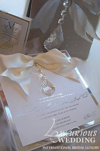 Couture Wedding Invitation with Crystals via LuxuriousWedding.com