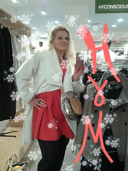 Red and white for Holiday Season - H&M coat and dress.  LOVE!  #h&m