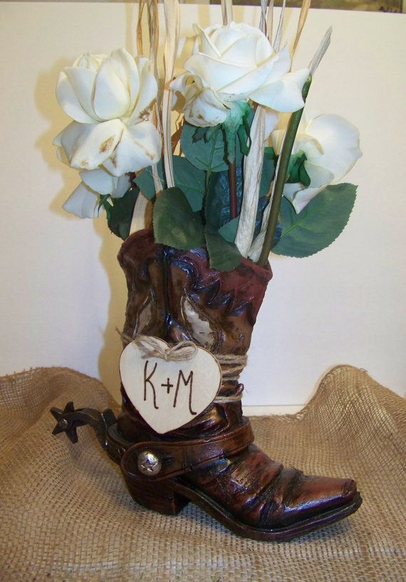 Rustic Wedding CenterpieceCowboy Boot Flower by sugarplumcottage, $22.00