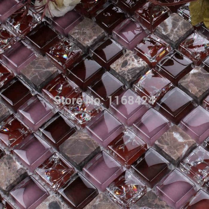 ice crackle crystal mosaic tiles purple color glass mosaic square for backsplash tile bathroom shower tile - Mosaic Tiles
