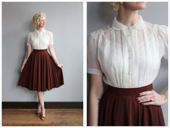 1950s Blouse // Ivory Nylon Blouse // vintage by dethrosevintage--Gosh, this outfit is cute! Love it! XD