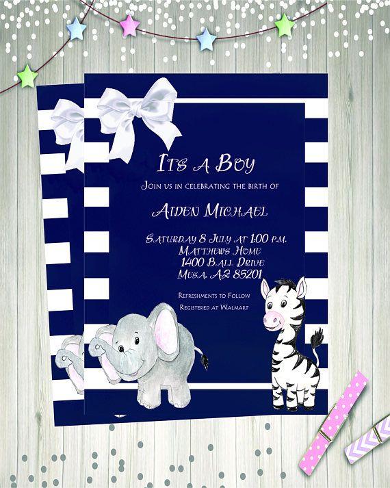 Elephant Baby Shower Invitation  Zebra Baby Shower Invite
