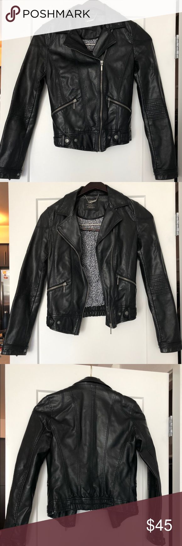 Zara faux leather jacket Zara jacket. Moto jacket. Zara