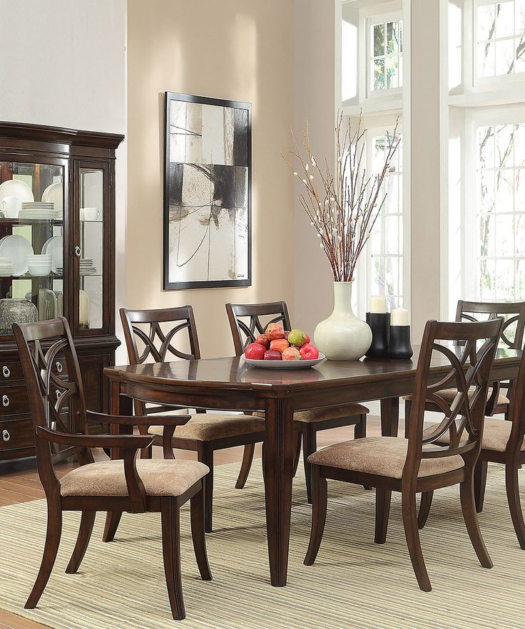 Entertain In Modern Style When You Seat Your Guests At This Espresso Seven Piece Dining Set With An Elegant Dark Finish And Contrasting Light Cushions