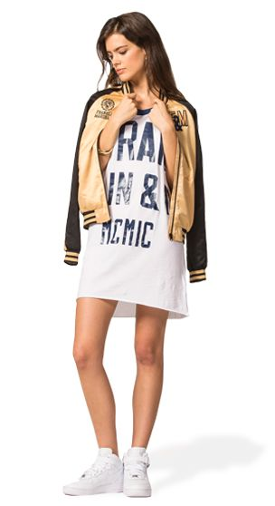 CREATE A COOL AND UNIQUE OUTFIT: JUST WEAR THIS BASEBALL JERSEY DRESS WITH MESH SLEEVES AND CLASSICAL VARSITY GRAPHICS. ADD A TOUCH OF STYLE WITH THE GOLDEN NYLON JACKET WITH APPLIQUED DETAILS. #franklinandmarshallofficial #franklinandmarshall #womenswear #ss15