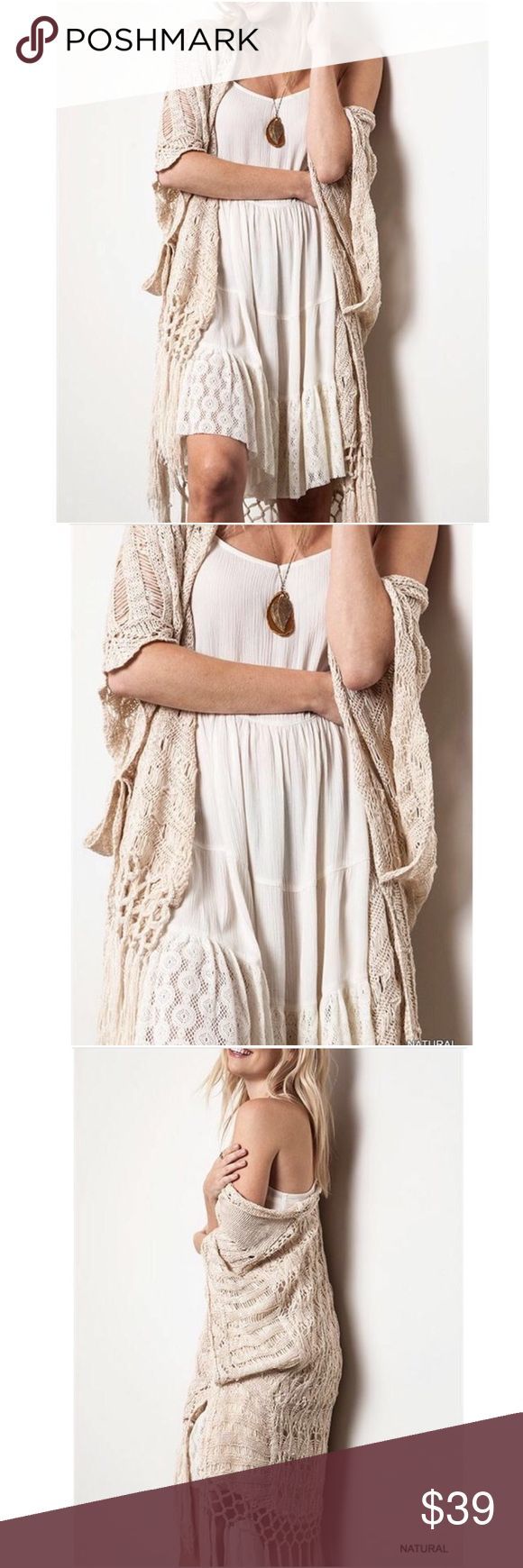New Kori Cream Crochet Boho Draped Fringe Cardigan This Kori Cardigan is made of a super soft knit, cotton blend fabric. Size S/M - Bust is 54 inches unstretched. Size M/L - Bust is 58 inches unstretched. Total length is 43 inches. 🚨Price is Firm🚨 Kori Sweaters Cardigans