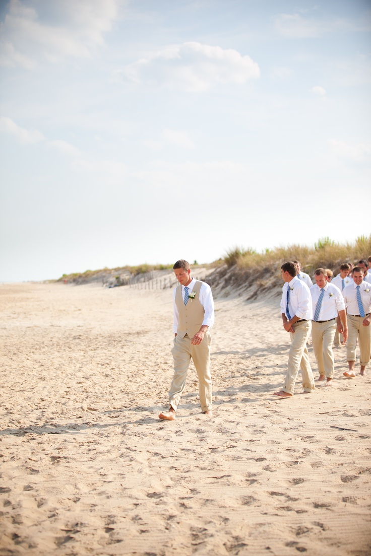 White linen pants, white shirts... groom with white vest .... ? color tie?