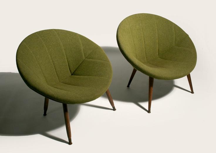 50 s mid century danish modern circular pod lounge chairs eames era