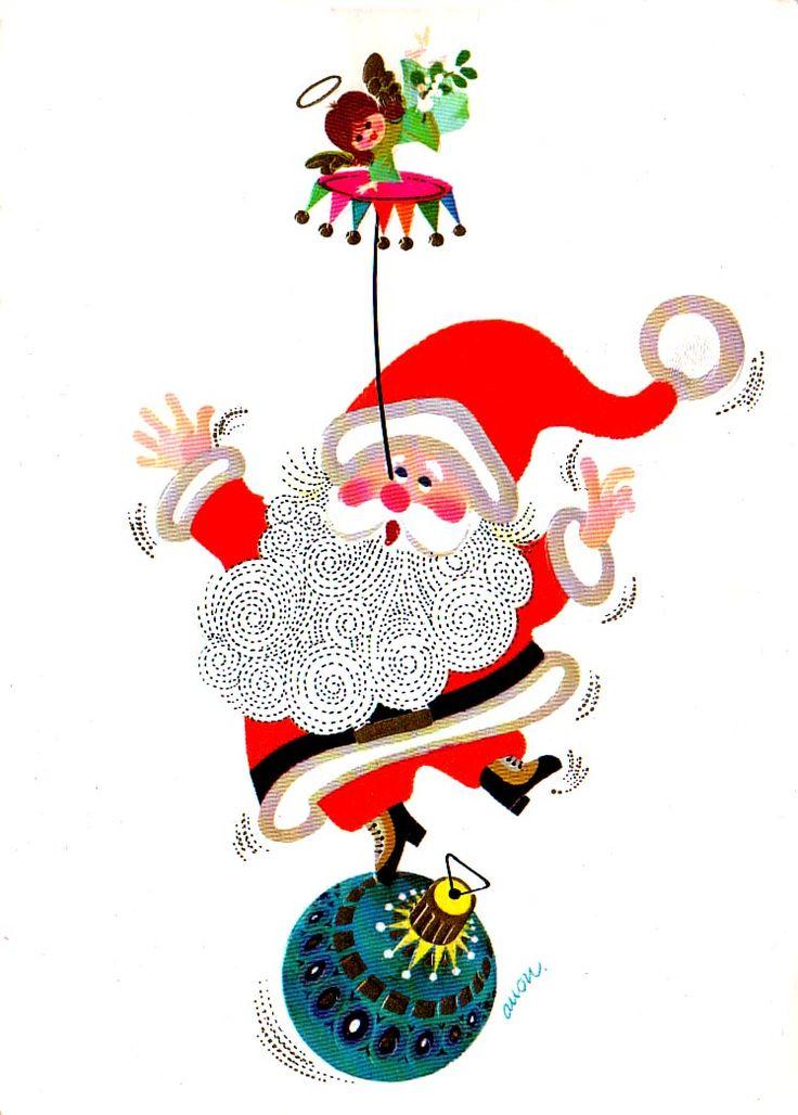 122 best Mod Santa Christmas Cards images on Pinterest | Santa ...