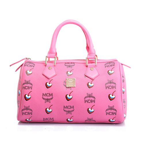 MCM Outlet Boston Bags Visetos Signature Peachpink Online - $107.99