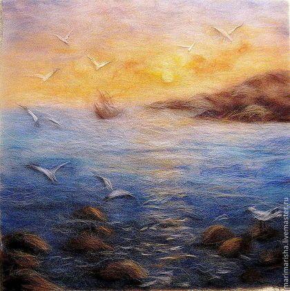 Картина из шерсти Морской рассвет с чайками - картина из шерсти,шерстяные картины