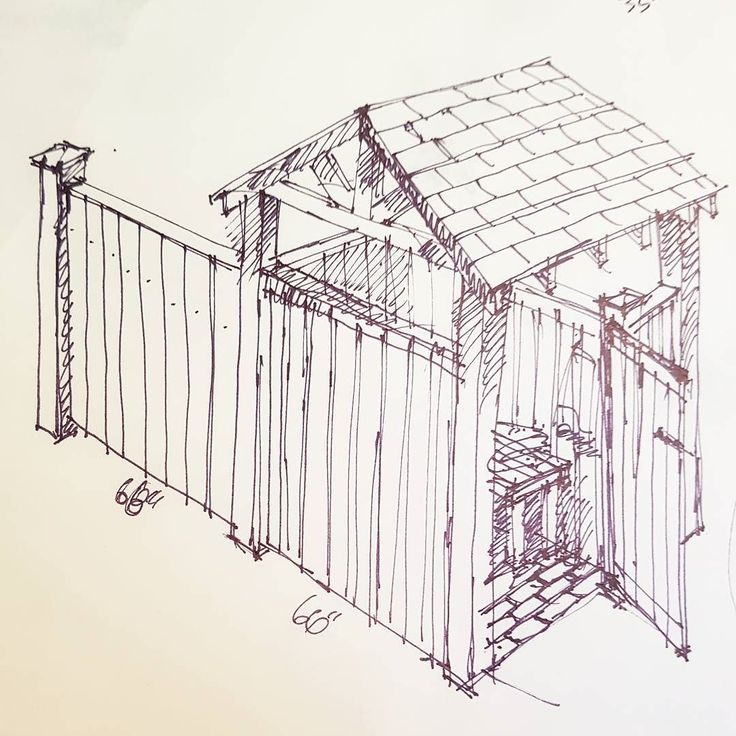 Sketch for pool Cabana/change room with storage and pool equipment fence for spring 2018. Pressure treated.  #Oakvillecabinetry