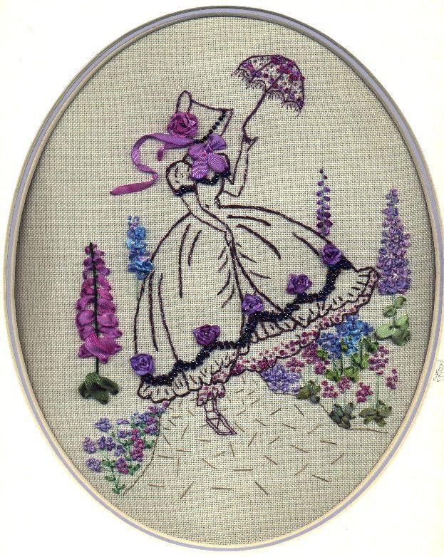 Crinoline lady, embellished with silk ribbon embrodiery