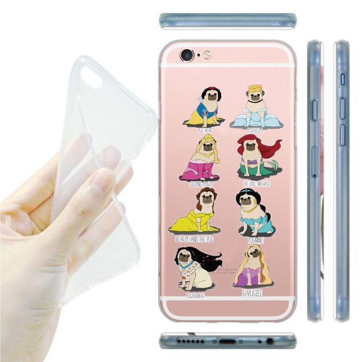 Cão pug do unicórnio do arco casos de telefone capa para iphone 6 6 s 5 5S se 7 7 mais Caso Design Xícara De Café Transparente Caso TPU Macio Capa