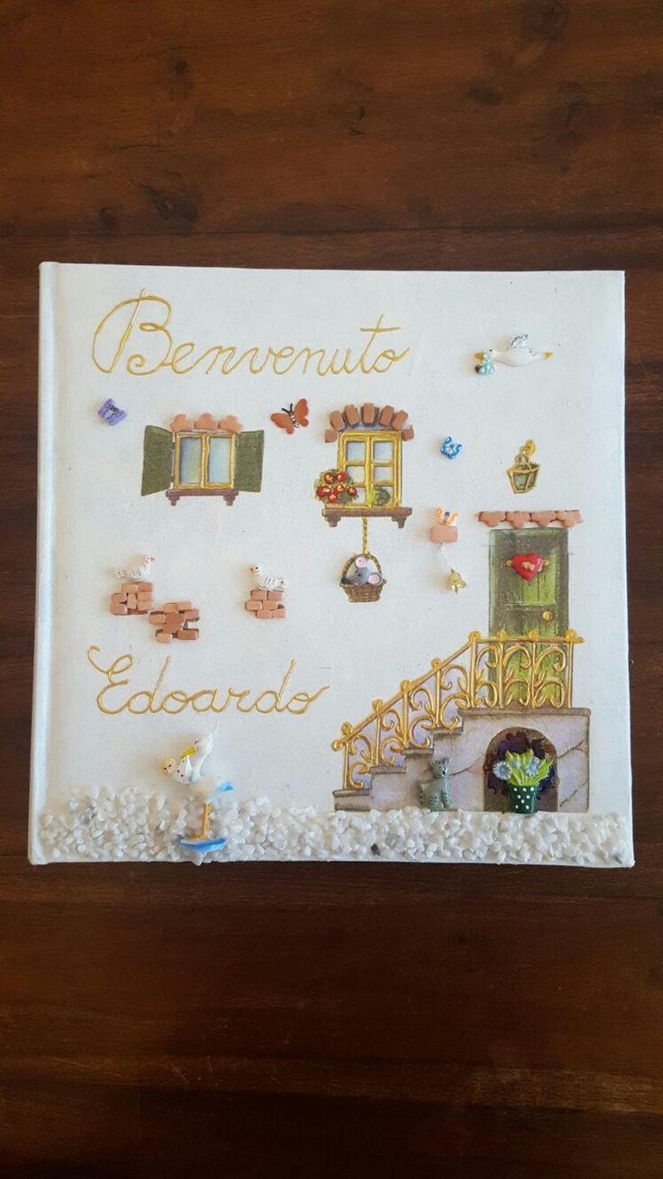 Album foto personalizzato e decorato a mano.  Eseguito per nascita.  Ma eseguo su commissione anche per Comunioni Cresime e Matrimoni.