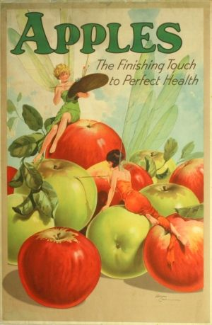 Apples for Health, 1930s - original vintage poster by Edward Cole listed on AntikBar.co.uk