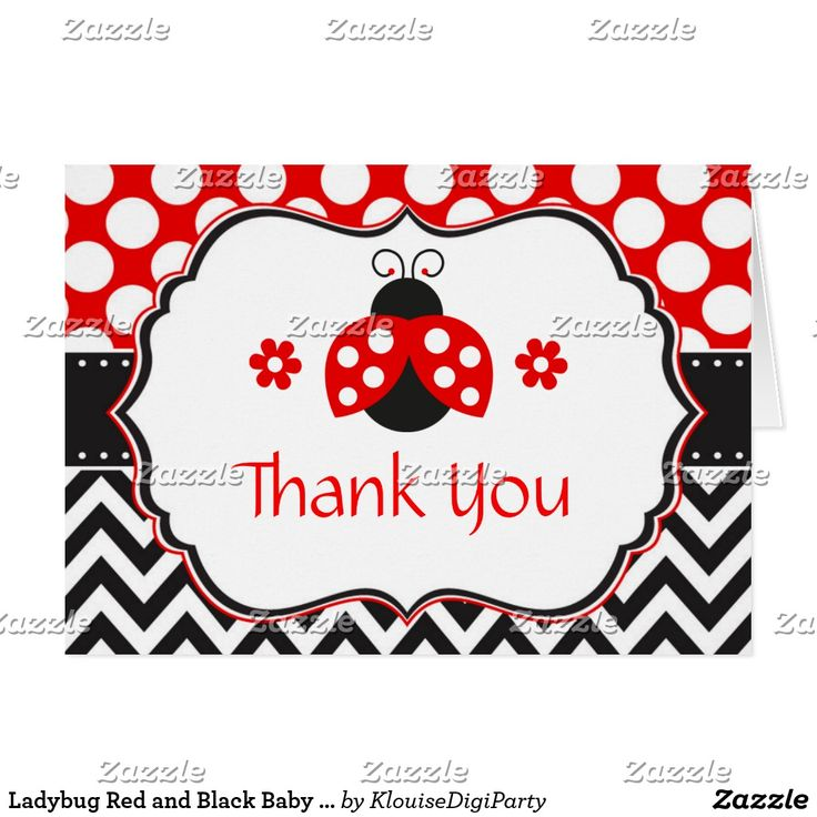Ladybug Red and Black Baby Shower Thank You Card