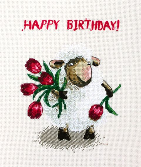 Happy  birthday cross stitch pattern lambs sheep by LaMariaCha, $6.50