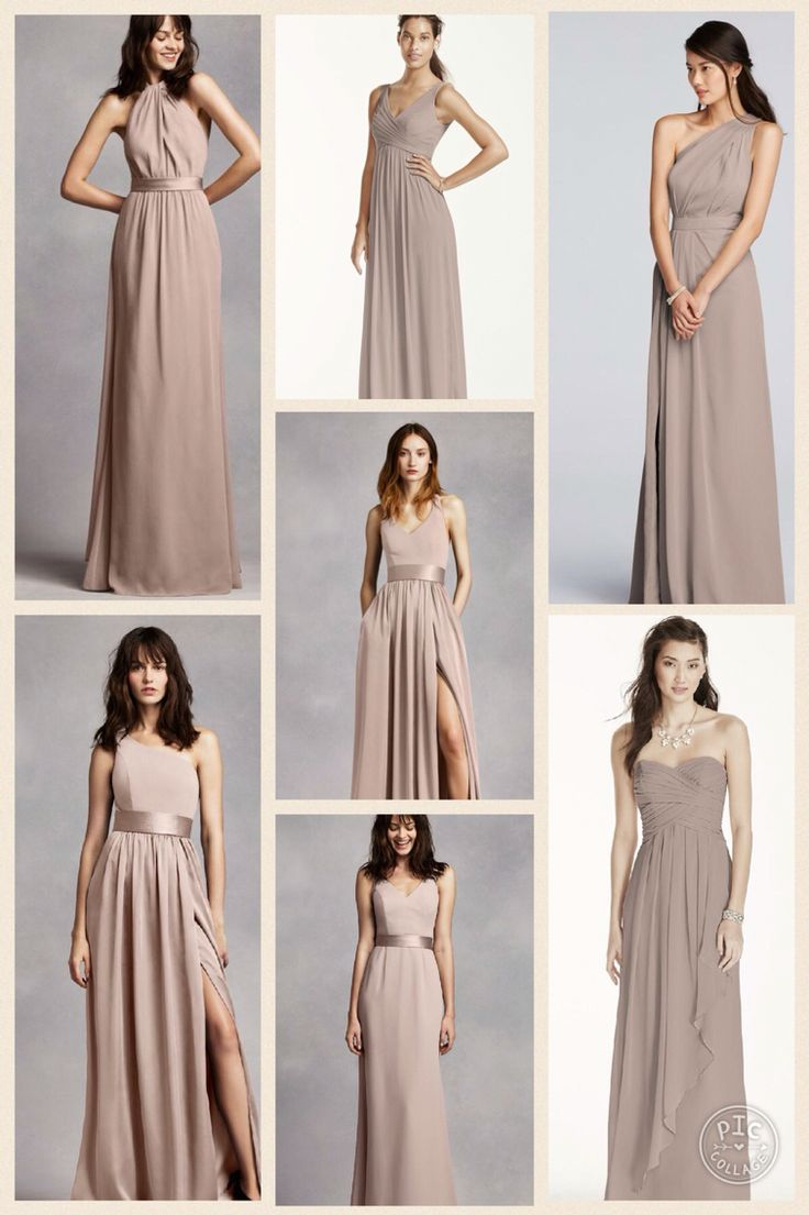 "I put together a collage of few styles of dresses I like from David's Bridal ranging from $159 to $199. I like the color ""biscotti""...it's not quite the champagne color I was originally thinking but I think it's a beautiful nude/soft purple color. I love the idea of the mismatch dresses. Each of the girls could pick out a style that they like and also have a little flexibility on the price range with the two different price points.  I also think this color will pair nicely with a gray tux."