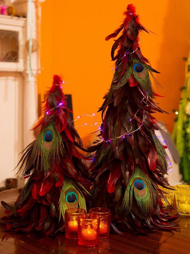 manualidades navidad originales arbol hecho plumas ideas