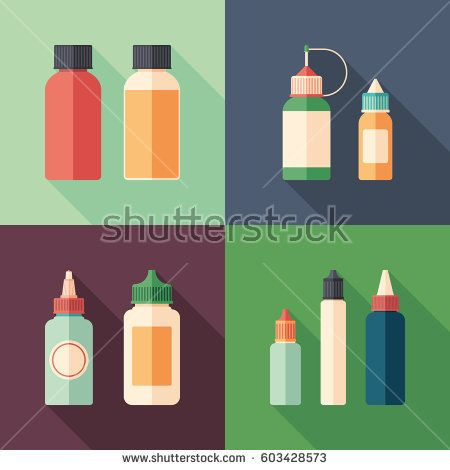 Set of e-liquid bottles flat square icons with long shadows. #vape #vaping #flaticons #vectoricons #flatdesign