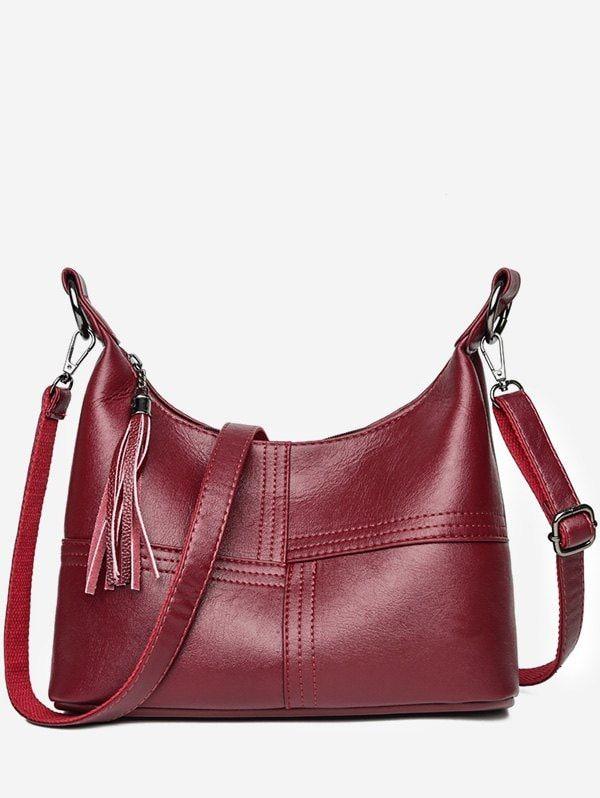 <b>High Capacity</b> Tassel Closure PU Shoulder <b>Bag</b>   Women's <b>Bags</b> ...